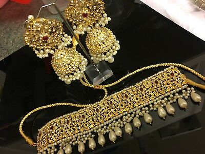 Hyderabadi Indian/pakistani Bridal/ Party Wear Ruby Gold 24k Jhumki set