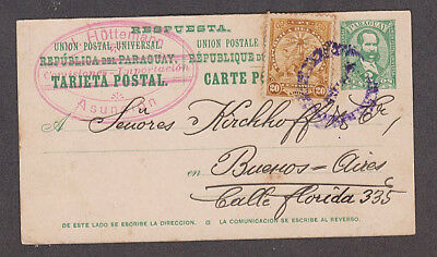 Paraguay - 1907 Postal card with added stamp mailed to Argentina