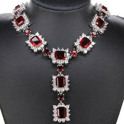 """2017 New Arrival Blood Ruby, CZ Ladies Wedding Silver Necklace 19-20 """""""