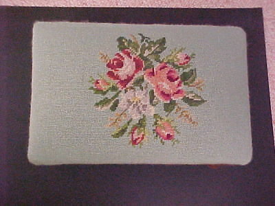 Antique  Needlepoint Tapestry Foot Stool Rose Floral
