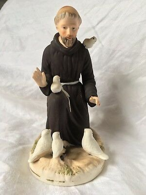Vintage St. Francis of Assisi Porcelain Figurine Statue Marked E169 Detailed