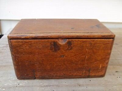 Vintage Oak Wood Roll Fold Up Sewing Accessory Box Dated 1889  FREE SHIP