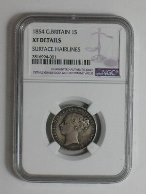1854 GREAT BRITAIN SHILLING - NGC Certified - World Silver Coin