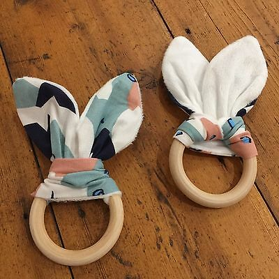 Wood And Cotton Crinkle Sound Bunny Ears Teething Ring,  Geometric Duck Egg Blue