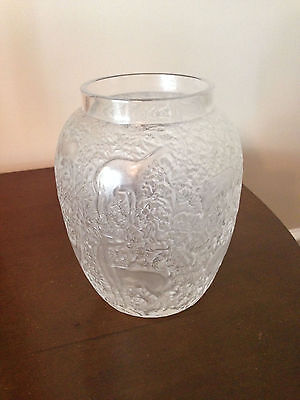 Lalique Frosted/clear glass Crystal BICHES Deer Vase France Excellent Condition!