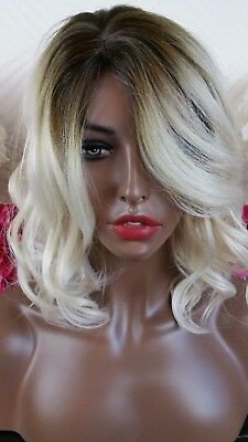 Beautiful Rooted Blonde Wavy Side Part Full Wig