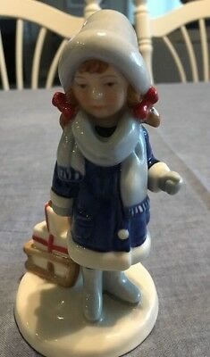 ROYAL COPENHAGEN GIRL WITH CHRISTMAS GIFTS AND SLED DANISH PORCELAIN FiGURINE