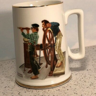 Norman Rockwell Coffee Mug Cup River Pilot 1985 Mississippi River Captain Sailor