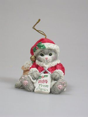 SANTA KNITTING SCARF Calico Kittens Figurine Ornament NEW Never Displayed!  Mint