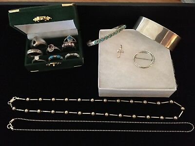 Lot Of ALL STERLING SILVER 925 Jewelry Rings Bracelets Turquoise Ready To Wear