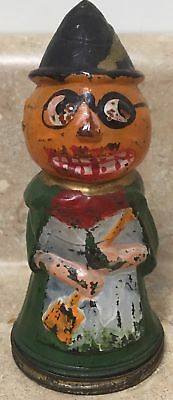 Pumpkin Head Witch   Glass Candy Container  Amazing Original Paint !!!