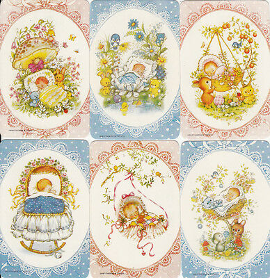 Vintage 70's Swap/Playing Cards - 6 SINGLE-  LACY FRAMED BABIES