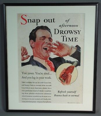 Framed 1933 Coca Cola Advertising Print Ad, Snap Out of Afternoon Drowsy Time