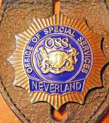 """NEVERLAND OSS 2""""  BADGE..GOLD-TONE MICHAEL JACKSON  not NYPD    (DEFUNCT UNIT)"""
