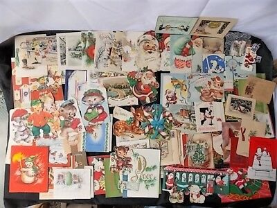 Lot of Vintage Christmas Cards c1920s-70s Santa Dogs WWII Foil Mini Cats 68+