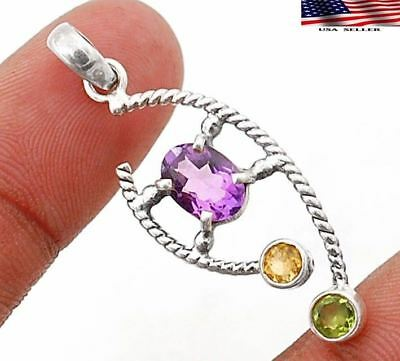 "Amethyst 925 Solid Genuine Sterling Silver Pendant Jewelry 1 1/2"" Long"