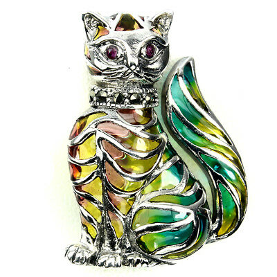 Awesome Round 2 Mm Red Pink Ruby Marcasite 925 Sterling Silver Enamel Cat Brooch