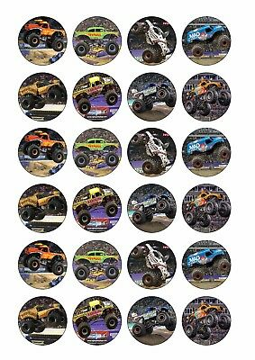 24 X Monster Jam Trucks Edible Cupcake Toppers Cake Decorations