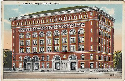 Old Red Brick Masonic Temple, Detroit, Michigan. 1920 Detroit Cancel