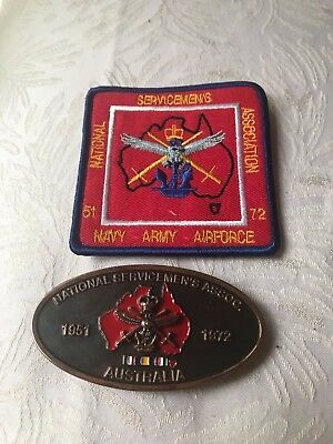 Vintage Belt Buckle  National Servicemens Australia  & Patch