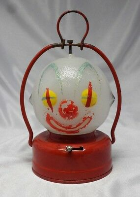 Vintage Halloween? AAA Battery Operated Lantern -Glass Head Clown -Made In Japan