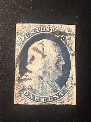 U S Stamp Old Used 1c Blue Franklin Imperf