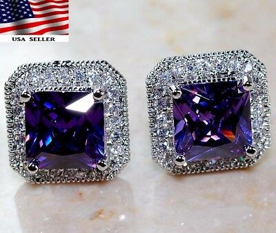4CT Amethyst & White Topaz 925 Solid Genuine Sterling Silver Earrings jewelry