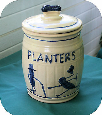 Vintage Planters Peanuts Stoneware Crock Cobalt Blue Counter Jar With Lid--Rare
