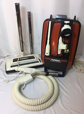 Vtg Eureka METAL Canister Vacuum Model 1751A Orange Red Retro Seller Refurbished