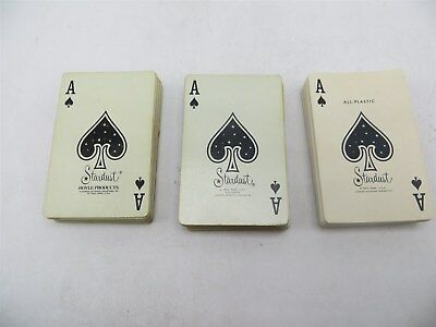 Lot of 3 Decks of Stardust All-Plastic Playing Cards