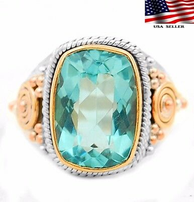 8CT Three Tone - Aquamarine 925 Solid Sterling Silver Ring Jewelry Sz 8.25