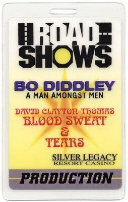 Bo Diddley authentic 1996 tour Laminated Backstage Pass Blood Sweat & Tears