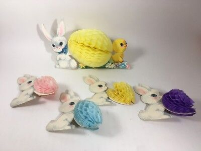 5 Vintage Easter Bunny and Chick Honeycomb Die-Cut Spring Decorations
