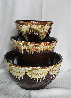 Old RRP Robinson Ransbottom Pottery Brown Drip Glaze Nested Set 3 Mixing Bowls