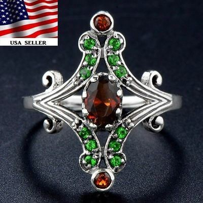 1CT Smoky Topaz & Emerald 925 Solid Sterling Silver Filigree Ring Jewelry Sz 6