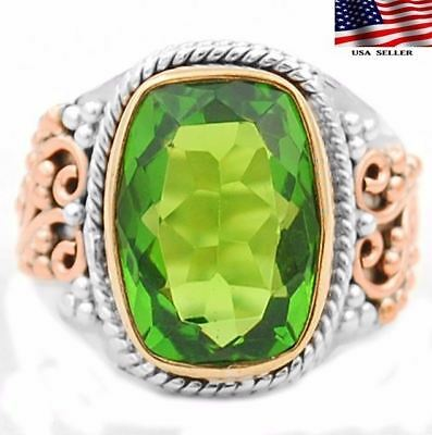 6CT Three Tone- Peridot 925 Solid Sterling Silver Ring Jewelry Sz 8.25