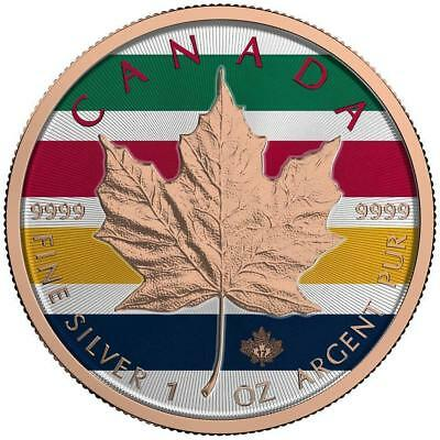 Canada 2017 $5 Maple Leaf 1 Oz Stripes Rose Gold Colored Silver Coin