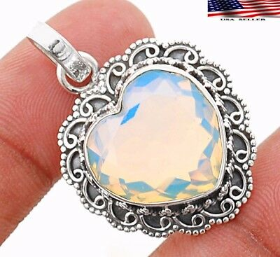 12CT Heart - Fire Opalite 925 Sterling Silver Detailed Design Pendant Jewelry