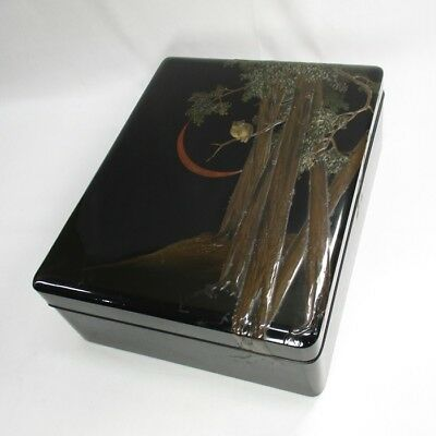 A320: Japanese OLD lacquer ware hand box BUNKO with RARE owl design