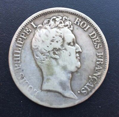 #11Very Nice Ungraded Estate Silver Coin 5 Francs 1831 Marseille Louis Philippe