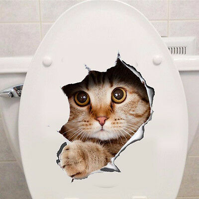 Wall Decor 50% Charity Stickers Decal Home Art Cat 3D Animal Toilet Bathroom #06