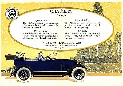 1916 Chalmers Motor Car Co, Detroit, Michigan Folding Color Auto Advertisement