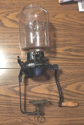 Nice Antique Wall-Mount Coffee Grinder Cast Iron with Crystal No. 3 Glass Jar