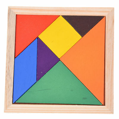 Wooden Seven Piece Puzzle Jigsaw Tangram Brain Teasers Baby Toy PK Y9F1