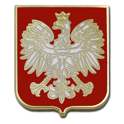 Best Poland Eagle Red Shield Polska Crest Gold Plated Premium Pin Gift Box Pouch