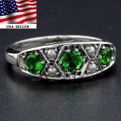 1CT Emerald & Seed Pearl 925 Solid Sterling Silver Filigree Ring Jewelry Sz 7