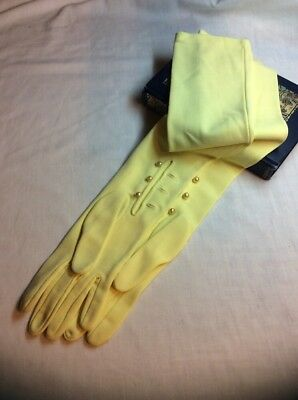 """Vintage Long Yellow Opera Gloves 3 Buttons Wedding Costume Evening Gloves 22"""""""