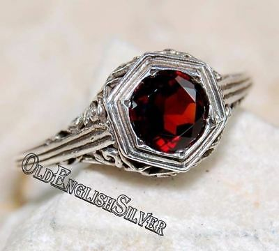 1CT Fire Garnet 925 Solid Sterling Silver Art Deco Filigree Ring jewelry Sz 7