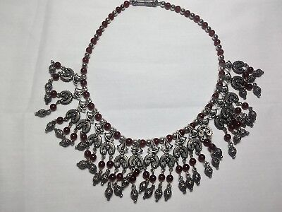 Vintage Sterling Silver beaded charm Necklace with Earrings
