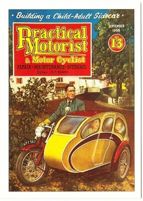 Postcard of Motorcycle Sidecar on 1950s Practical Motorist Magazine Repro
